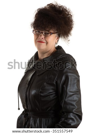 frustrated mature woman with glasses
