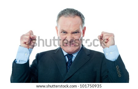 Frustrated senior businessman on white background - stock photo