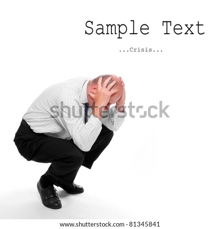 Frustrated senior businessman with easy removable text.