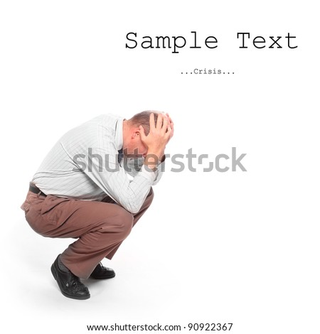 Frustrated senior businessman with easy removable text. - stock photo