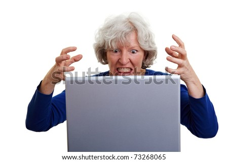 Frustrated senior woman screaming at her laptop - stock photo