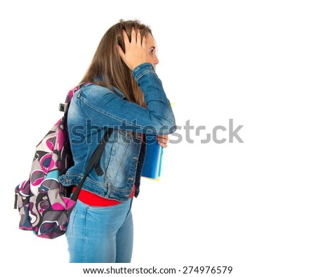 frustrated student over isolated white background - stock photo