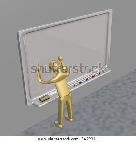 Frustrated teacher banging head against white board.  (3D Render) - stock photo