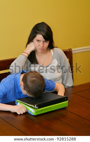 Frustrated tutor having trouble with her student