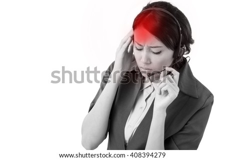 frustrated, upset business woman suffers from headache - stock photo