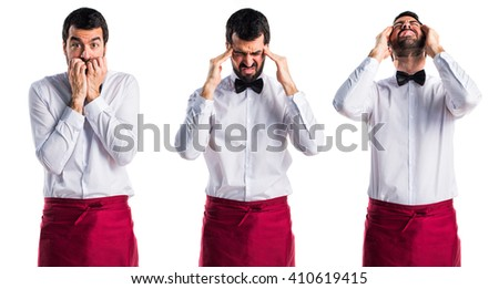frustrated waiter - stock photo