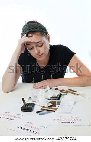 Frustrated woman looking worried about her finances