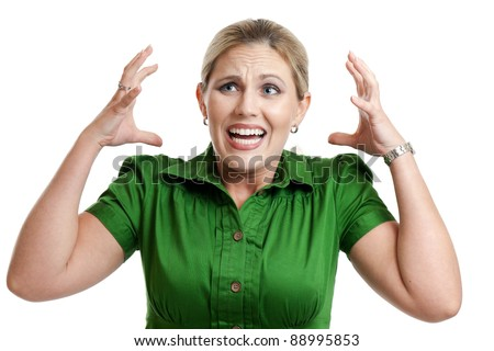 Frustrated woman portrait isolated on a white background - stock photo
