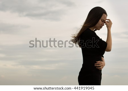 Frustrated woman walking away disappointed - stock photo