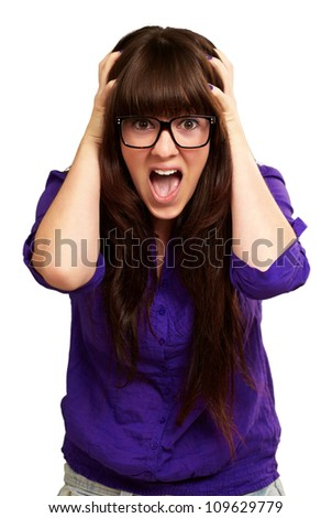Frustrated Woman With Mouth Open Isolated On White Background - stock photo