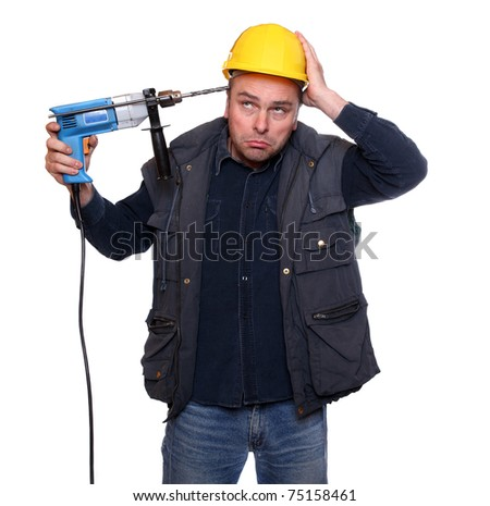 Frustrated worker trying to suicide on white background. Stress metaphor. - stock photo
