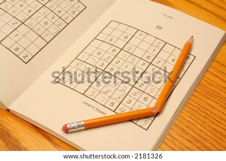 Frustrating game of Sudoku - stock photo