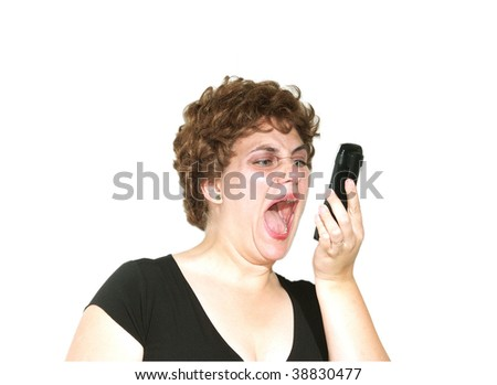 Frustrating phone call - stock photo