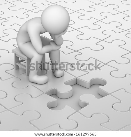 frustration, 3d human and one missing puzzle piece - stock photo