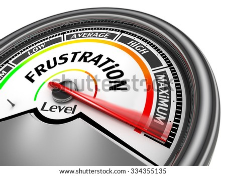 Frustration level to maximum conceptual meter, isolated on white background