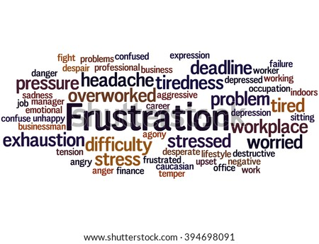 Frustration, word cloud concept on white background.