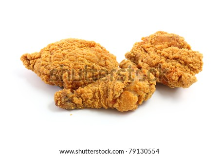 Fry chicken isolated in white background - stock photo