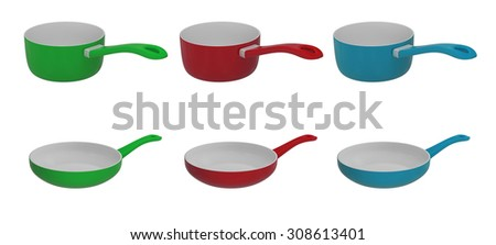 Fry pan and saucepan isolated on a white background - stock photo