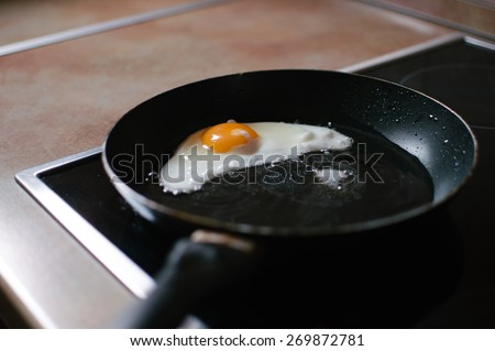 Fry the eggs in the pan - stock photo