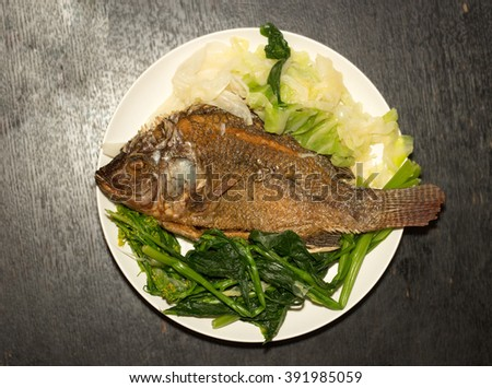 Rice grilled fish stock photo 591205694 shutterstock for Fish dish menu