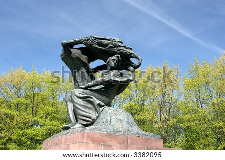 Fryderyk Chopin under Crying Willow, famous monument in Lazienki Park. Warsaw, Poland - stock photo