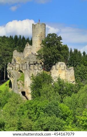 Frydstejn castle in Bohemia - stock photo