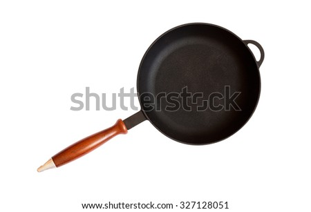 Frying cast-iron pan isolated on white background - stock photo