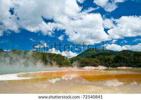 Frying Pan Flat pool at Wai-O-Tapu  geothermal area in  New Zealand - stock photo
