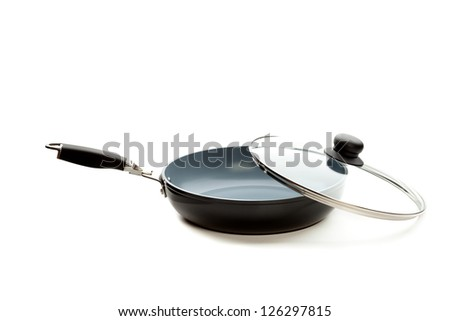 Frying pan. Isolated on white - stock photo