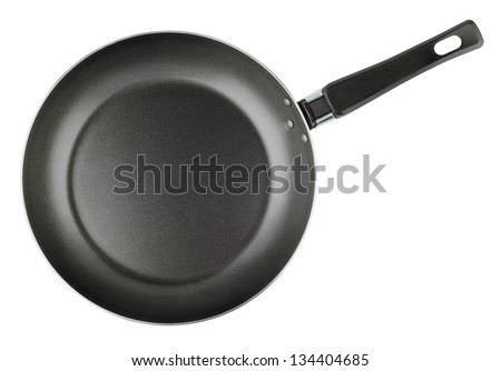 Frying pan isolated on white background - top view - stock photo