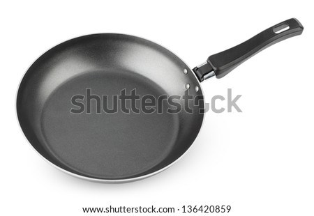 Frying pan isolated on white background with clipping path - stock photo