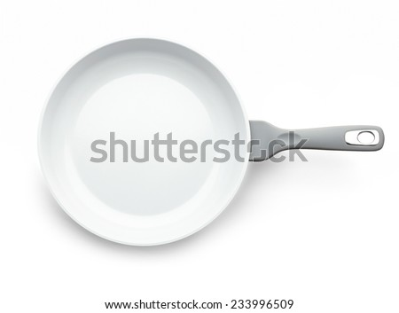 Frying pan isolated on white background with shadow - stock photo