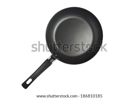 Frying pan isolated on white with clipping path - stock photo