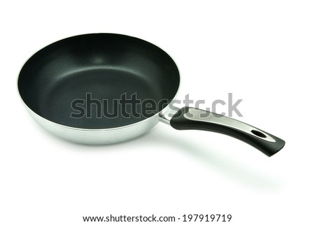 Frying pan isolated over white background - stock photo