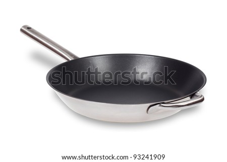 Frying pan isolated over white with clipping path - stock photo