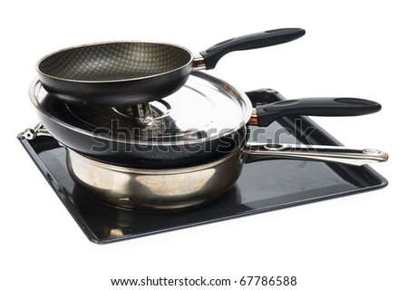 Frying pan - kitchen utensils isolated on a white background - stock photo