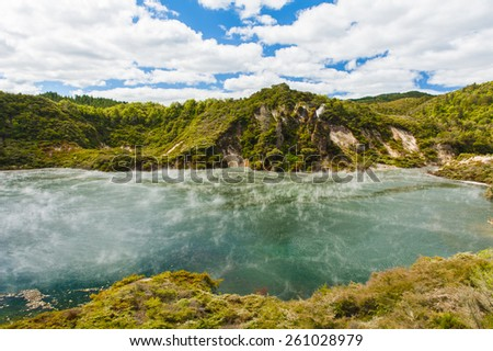 Frying pan lake is the largest hot water spring in the world. Rotorua, Waimangu geothermal area, New Zealand - stock photo