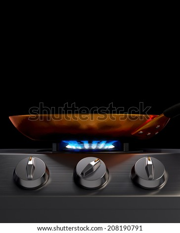 Frying Pan on Burner - stock photo