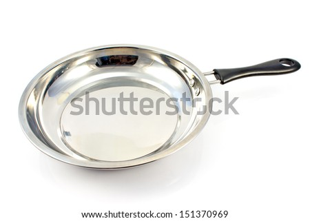 Frying pan on white - stock photo