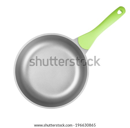 Frying pan or skillet top view isolated on white with clipping path included - stock photo