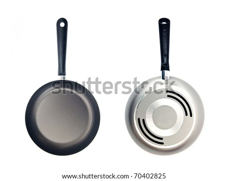 Frying pan over a white background, both sides. - stock photo