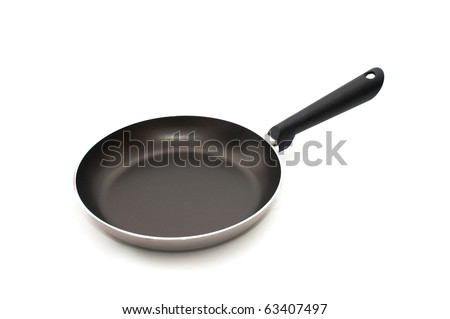 Frying pan over white background - stock photo