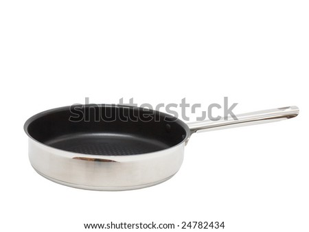 Frying pan, which  made of  stainless steel. Isolated. - stock photo
