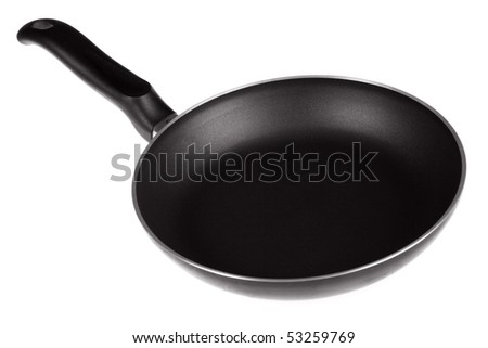 Frying pan, white background - stock photo