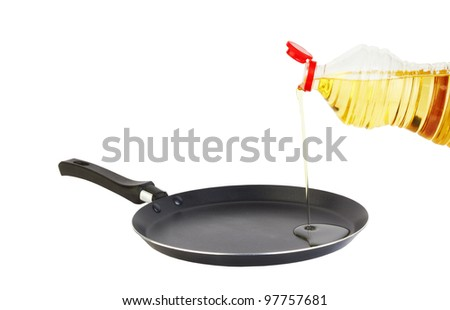 Frying pan with bottle of oil on white background - stock photo
