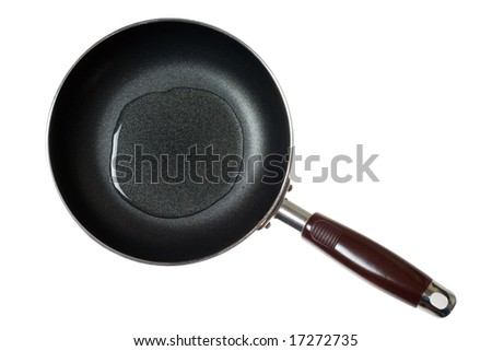 Frying pan with cooking oil isolated on white background - stock photo