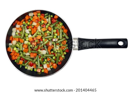 frying pan with freshly cooked variety of vegetables - stock photo