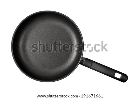 Frying pan with handle isolated on white background. Top view - stock photo