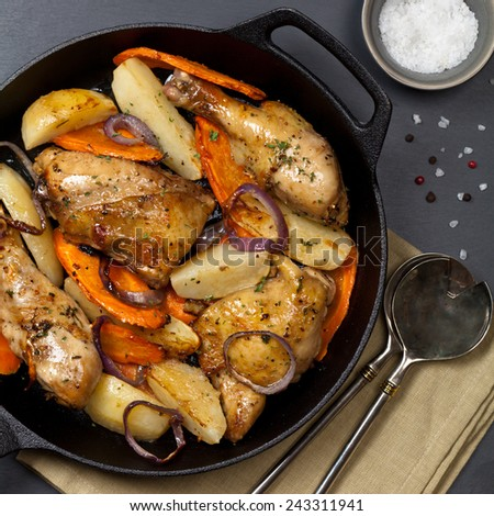 Frying Pan with Roasted chicken thighs. Selective focus. - stock photo
