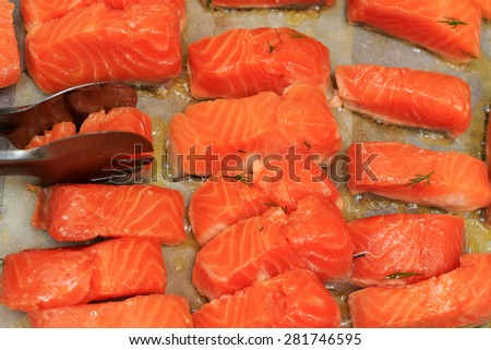 Frying trout - stock photo